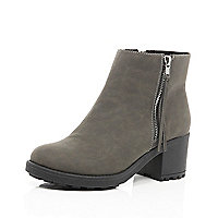 Grey zip trim block heel ankle boots