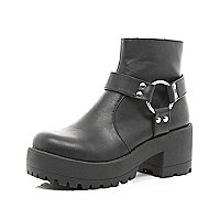 Black harness trim platform ankle boots