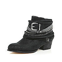 Black multi strap ankle boots