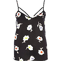 Black floral print strappy cami top