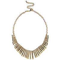 Gold tone repeat bar necklace
