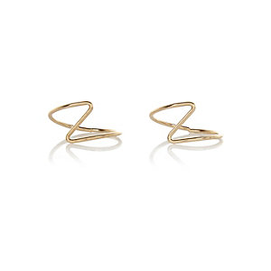 Gold tone zig zag midi ring pack