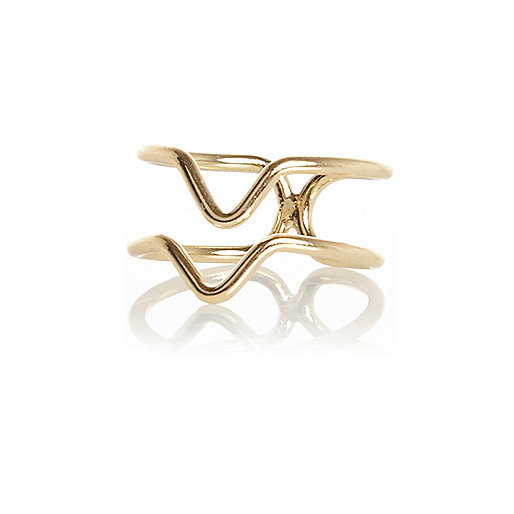 Gold tone finger top ring