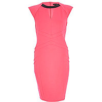 Pink contrast trim cut out pencil dress