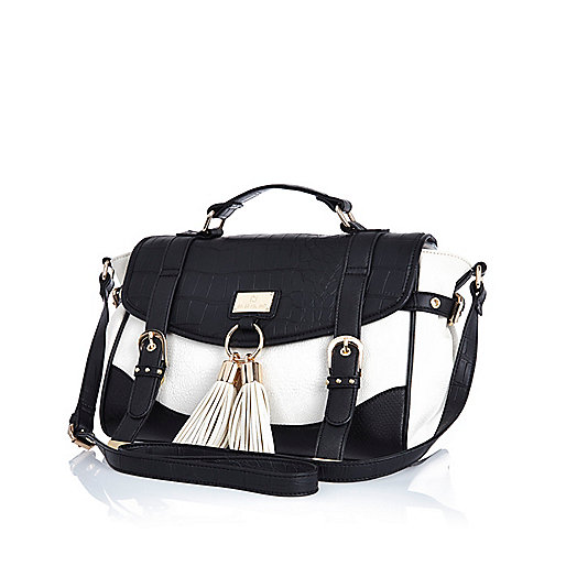 Black and white mock croc satchel