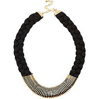 Black plaited metal trim necklace