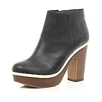 Black metal trim platform ankle boots