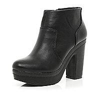 Black platform ankle boots