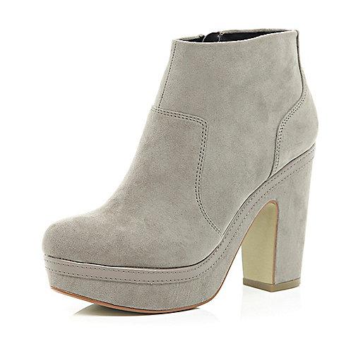 Light grey platform ankle boots