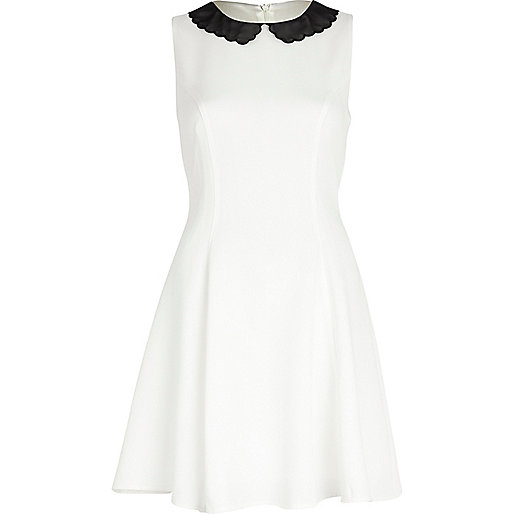 White scalloped collar tea dress