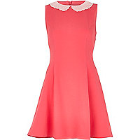 Pink scalloped collar tea dress