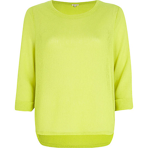 Lime stepped hem jumper