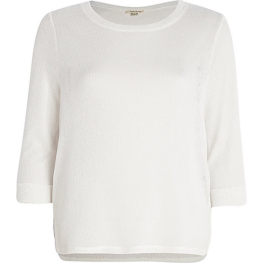 White stepped hem jumper