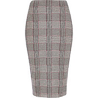 Black check print pencil skirt