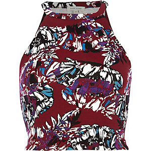 Dark red fern print racer front crop top