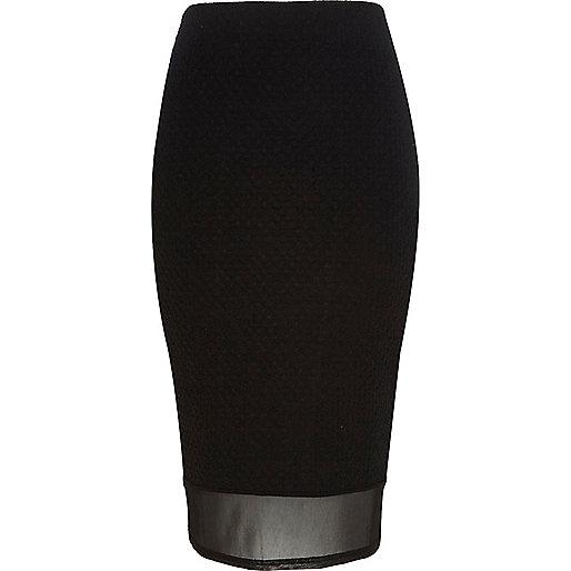 Black mesh hem textured pencil skirt