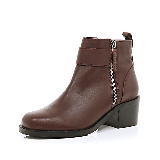 Dark red block heel ankle boots