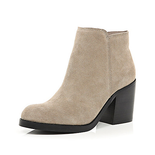 Light beige suede block heel ankle boots