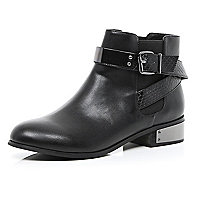 Black metal heel wrap around ankle boots