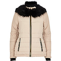 Cream faux fur collar padded jacket