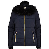 Navy blue faux fur collar padded jacket