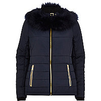 Navy faux fur collar padded jacket
