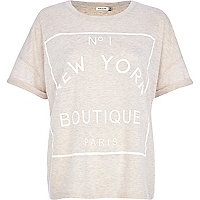 Beige No.1 New York boutique boxy t-shirt