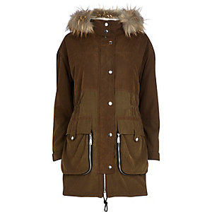 Khaki zip detail parka jacket