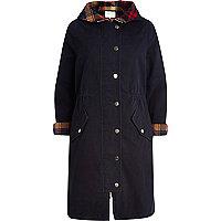 Navy tartan trim longline parka jacket