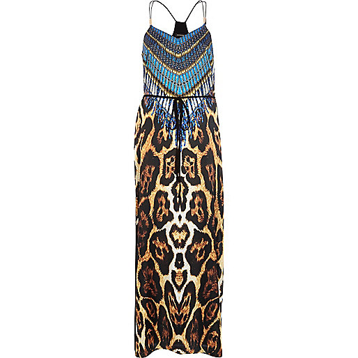Blue leopard tribal print split maxi dress