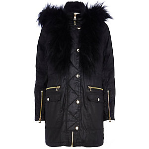 Black waxed cotton faux fur trim parka jacket