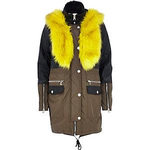 Khaki leather-look panel parka jacket