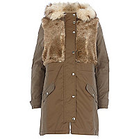 Khaki faux fur panel parka jacket