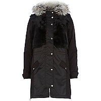 Black faux fur panel parka jacket