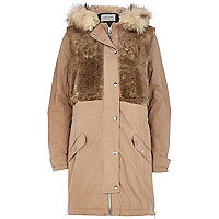 Camel faux fur panel parka jacket