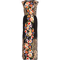 Black leopard and floral print maxi dress