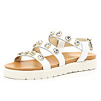 White gem stone embellished flatform sandals