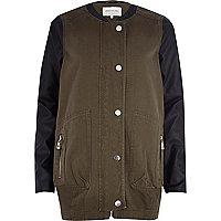 Khaki contrast sleeve cocoon coat