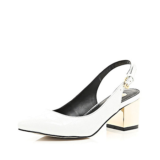 White sling back block kitten heels