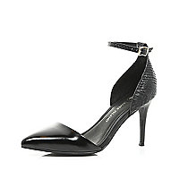 Black snake ankle strap two-part court shoes