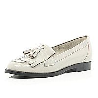 Light grey patent tassel loafers