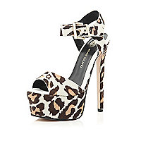 Brown animal print pony skin platforms