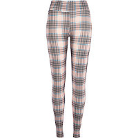 Pink high waisted checked leggings