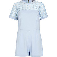 Light blue caged mesh yoke playsuit