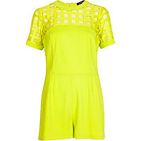 Bright yellow mesh yoke playsuit