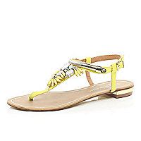 Lime gem stone embellished T bar sandals