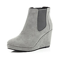 Grey wedge Chelsea boots