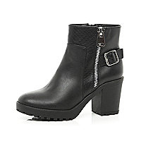 Black snake panel block heel ankle boots