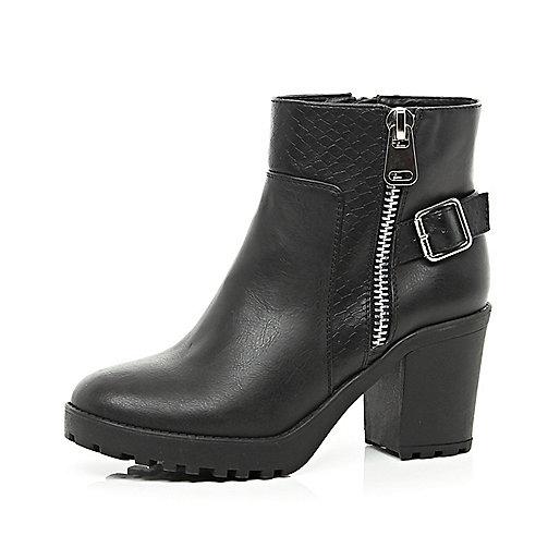 Black snake panel block heel ankle boots
