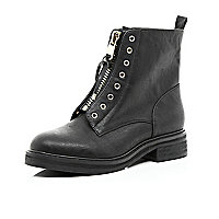 Black zip front biker boot